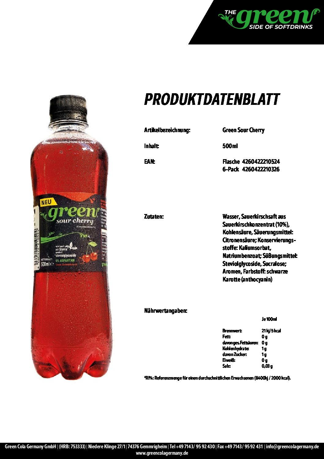 Green Sour Cherry 500ml PET